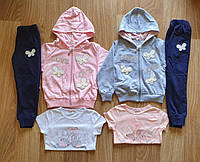 Трикотажный костюм 3 в 1 для девочек оптом, S&D, 98-128 см,  № CH-5512, фото 1