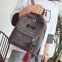 Модный вельветовый рюкзак с брелком, фото 3