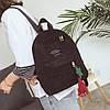 Модный вельветовый рюкзак с брелком, фото 5