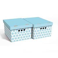 Набор картонных ящиков для хранения А4, голубой горох 2шт