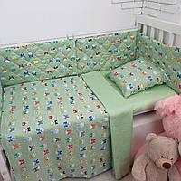 """Комплект постельного в кроватку + защита (бортики) ТМ """"Сон-тра"""", (простынь на резинке)"""