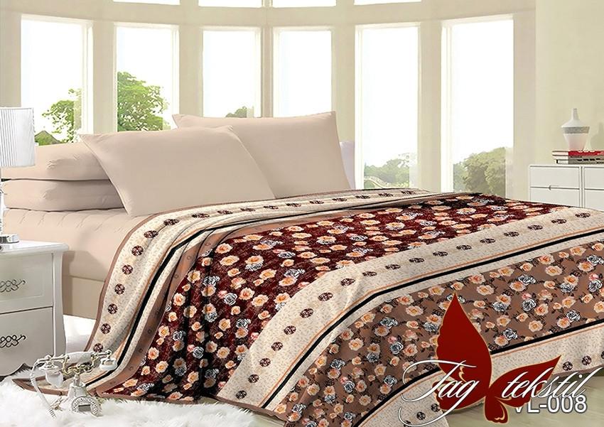 Плед покрывало 200х220 велсофт Цветы на кровать, диван