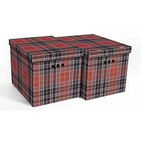Набор картонных ящиков для хранения XL, шотландка 2шт