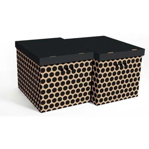 Набор картонных ящиков для хранения XL, черный горох 2шт