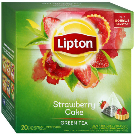 Чай Lipton Strawberry Cake \Клубничный пирог (20 шт) зеленый