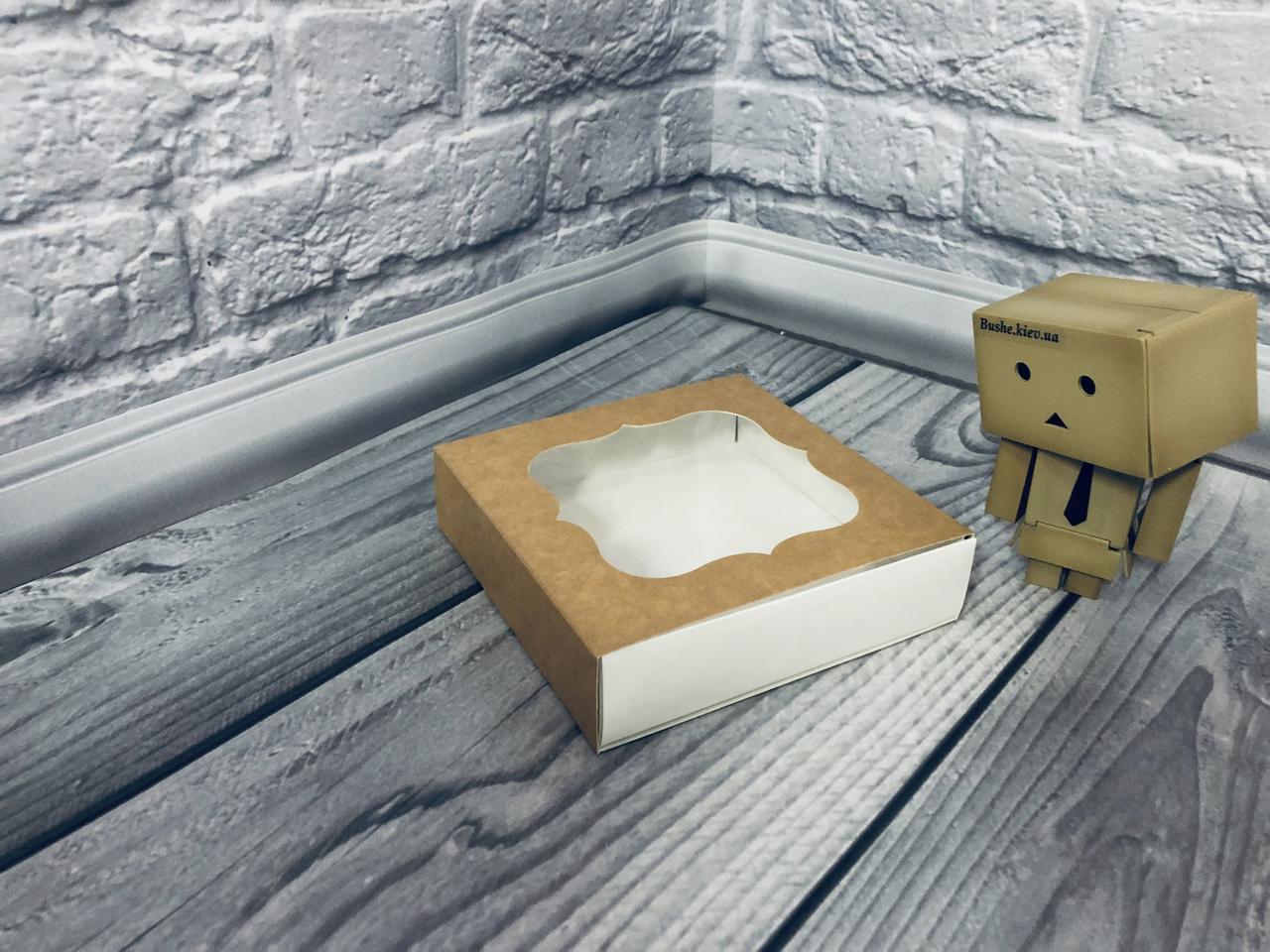 *50 шт* / Коробка для пряников / 120х120х30 мм / Крафт / окно-обычн