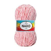 Плюшевая пряжа Nako Lily 4867 светло-розовый (Нако Лили, Нако Лилу) нитки для вязания 100% полиэстер