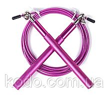 Скоростная МЕТАЛИЧЕСКАЯ скакалка PRO- скакалка на подшипниках Розовый, фото 2