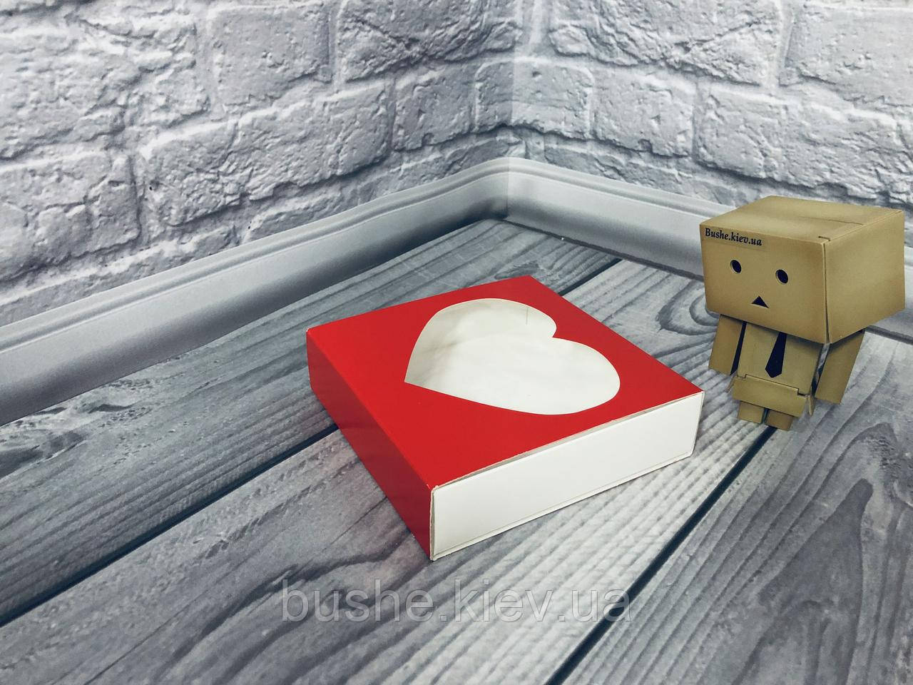 Коробка для пряников / 120х120х30 мм / печать-Красн / окно-1 Сердц / лк