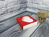 Коробка для пряников / 120х120х30 мм / печать-Красн / окно-1 Сердц / лк, фото 1