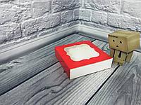 *50 шт* / Коробка для пряников / 120х120х30 мм / печать-Красн / окно-обычн, фото 1