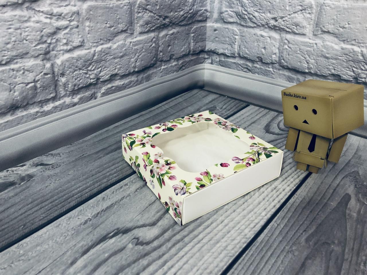 Коробка для пряников / 120х120х30 мм / печать-Весна / окно-обычн / лк / цв