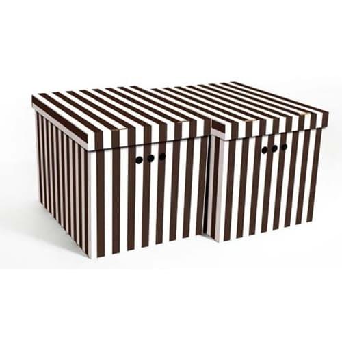 Набор картонных ящиков для хранения XL, коричневые полосы 2шт