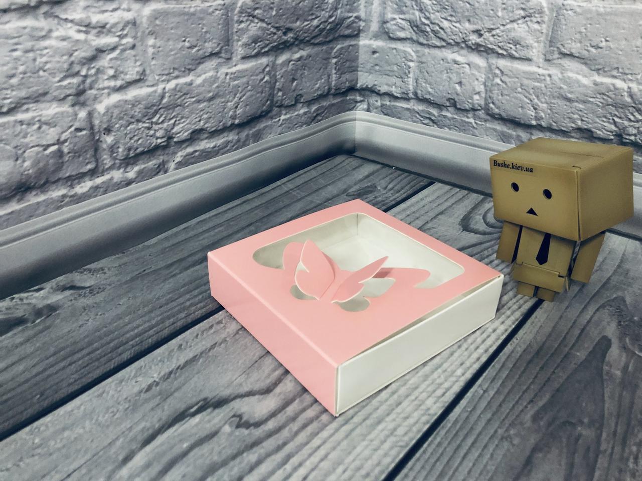 *50 шт* / Коробка для пряников / 120х120х30 мм / печать-Пудр / окно-Бабочка / лк