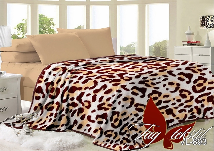 Плед покрывало 200х220 велсофт Леопард на кровать, диван