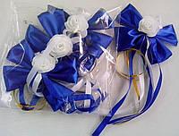 Бутоньерки на ручки свадебного авто (синие) 4 шт.