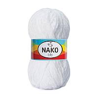 Плюшевая пряжа Nako Lily 208 белый (Нако Лили, Нако Лилу) нитки для вязания 100% полиэстер
