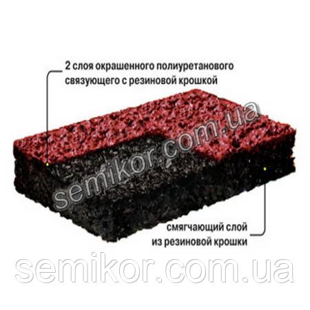 Бесшовное напыляемое покрытие из резиновой и каучуковой крошки  SN 13 мм
