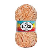 Плюшевая пряжа Nako Lily 276 лосось (Нако Лили, Нако Лилу) нитки для вязания 100% полиэстер