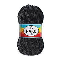 Плюшевая пряжа Nako Lily 217 черный (Нако Лили, Нако Лилу) нитки для вязания 100% полиэстер