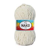 Плюшевая пряжа Nako Lily 6383 грибной (Нако Лили, Нако Лилу) нитки для вязания 100% полиэстер