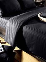 Черный качественный сатиновый комплект двухспального постельного белья.