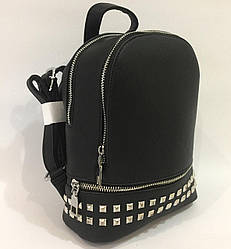 Женский рюкзак 1802-1, черный  с заклёпками