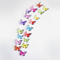 Объемные 3D бабочки наклейки декоративные разноцветные (z04513)