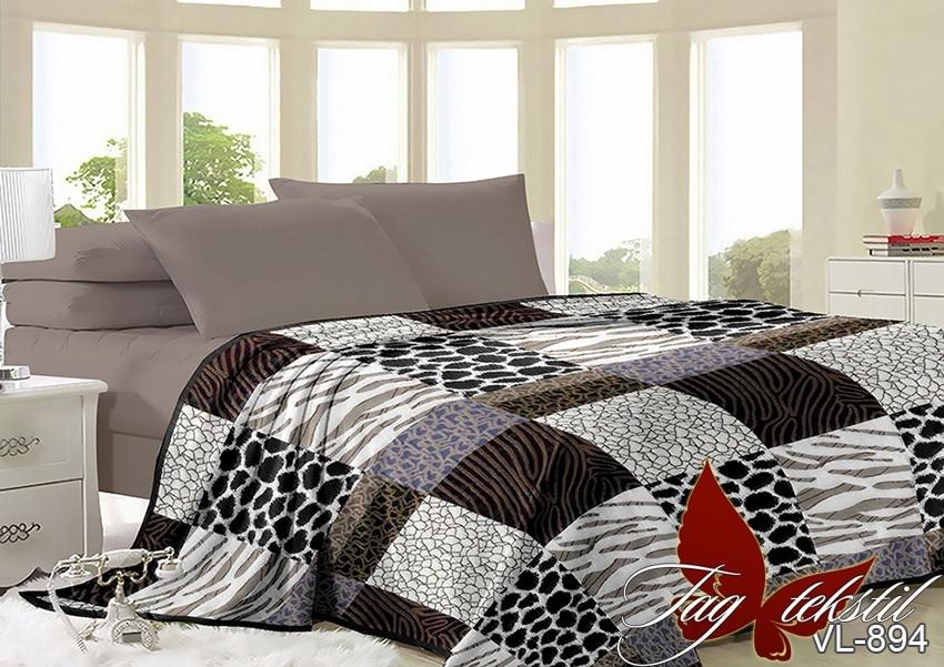 Плед покрывало 200х220 велсофт Клетка на кровать, диван