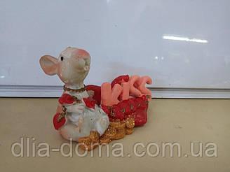 Сувенір візитниця миша з серцем