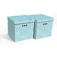 Набор картонных ящиков для хранения CUBE, голубой мрамор 2шт