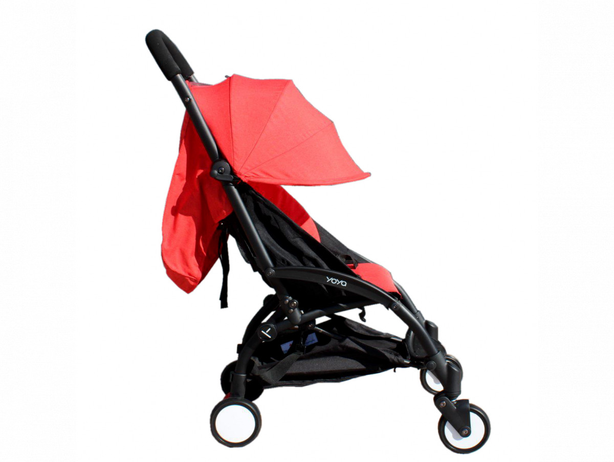 Детская коляска YOYA 175A+ Красный лен черная рама