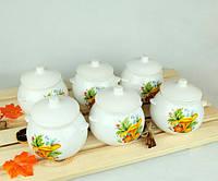 Горшочки для запекания в духовке 6 шт из керамики 600 мл гриб лисичка