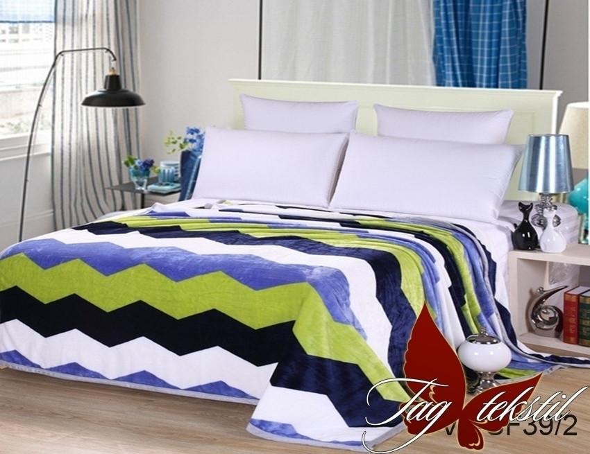 Плед покрывало 200х220 велсофт Зигзаг голубой на кровать, диван