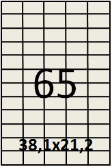 Самоклеящаяся этикетка в листах А4 - 65 шт (38,1х21,2) прямая