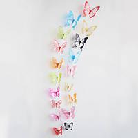 Объемные 3D бабочки наклейки декоративные микс (z04514)