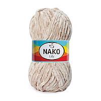 Плюшевая пряжа Nako Lily 11129 слоновая кость (Нако Лили, Нако Лилу) нитки для вязания 100% полиэстер