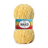 Плюшевая пряжа Nako Lily 2175 желтый (Нако Лили, Нако Лилу) нитки для вязания 100% полиэстер
