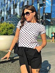 Костюм женский летний блузка в горох+шортикикреп костюмка+софт Черный