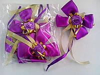 Бутоньерки на ручки свадебного авто (фиолетовые) 4 шт.