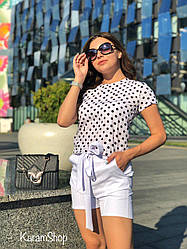 Костюм женский летний блузка в горох+шортикикреп костюмка+софт Белый