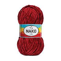 Плюшевая пряжа Nako Lily 1050 темно-красный (Нако Лили, Нако Лилу) нитки для вязания 100% полиэстер
