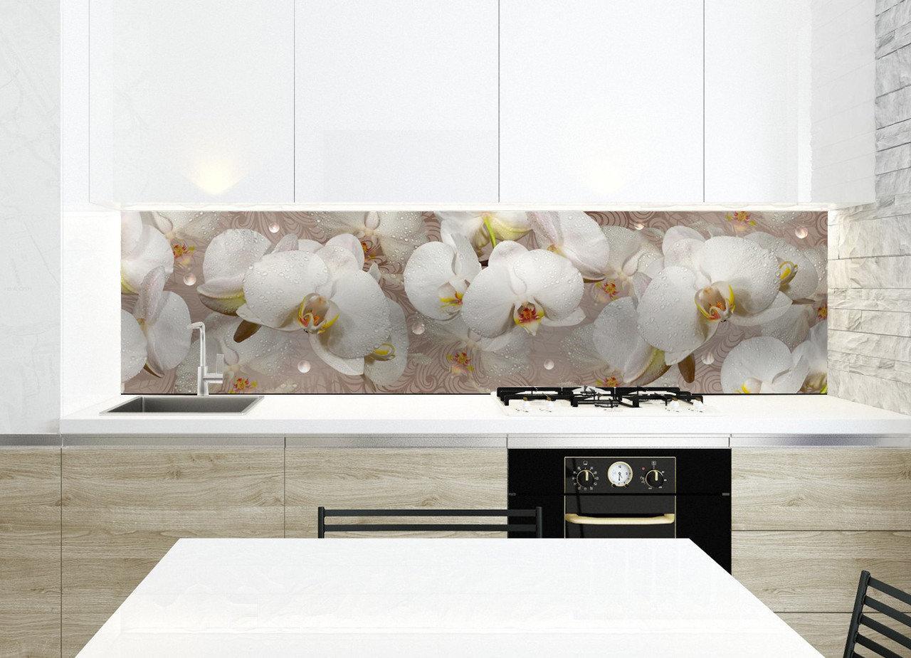 Кухонный фартук Орхидея и капли росы (полноцветная фотопечать, наклейка на стеновую панель кухни) 600*2500 мм