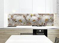 Кухонный фартук Орхидея и капли росы (полноцветная фотопечать, наклейка на стеновую панель кухни, цветы)