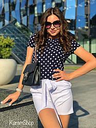 Костюм женский летний блузка в горох+шортикикреп костюмка+софт Темно Синий
