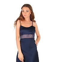 Шелковая ночная рубашка с кружевом Martelle Lingerie (темно-синяя), фото 3