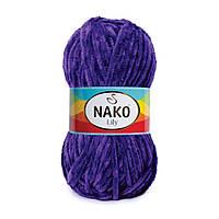 Плюшевая пряжа Nako Lily 4289 фиолетовый (Нако Лили, Нако Лилу) нитки для вязания 100% полиэстер