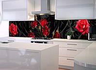 Кухонный фартук Роза Tassin (фотопечать, розы, черный шелк, наклейка на стеновую панель кухни, цветы)