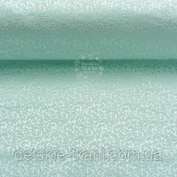 """Ткань жаккард для покрывал """"Вензель"""" мятного цвета (№2369)"""