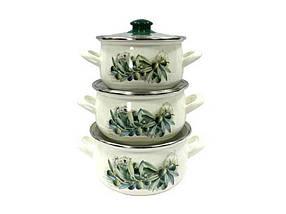 """Набір емальованого посуду 3 предмета Маслини """"Interos"""""""